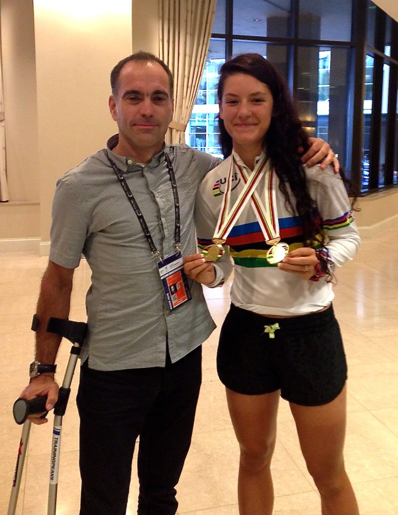 Chloe Dygert shows off her new hardware with her gimpy coach....me
