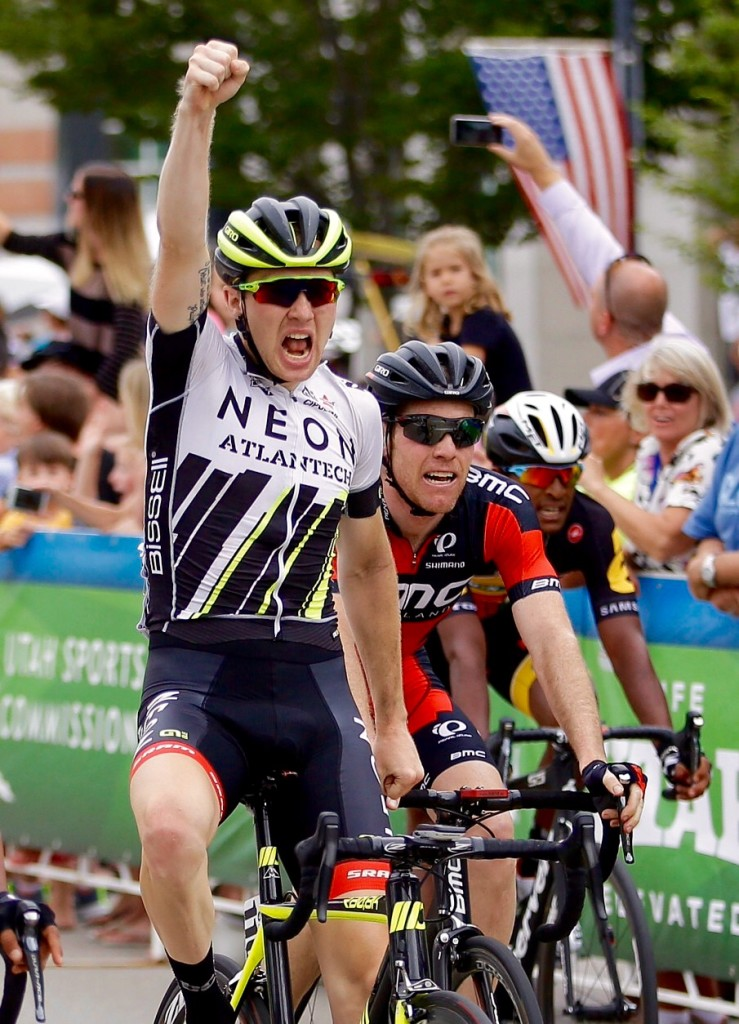 United States' Logan Owen, left, celebrates after winning the third stage of the Tour of Utah cycling race, next to second-place Brent Bookwalter, right, Wednesday, Aug. 5, 2015, in Bountiful, Utah. Wednesday's stage started on Antelope Island, the largest island in the Great Salt Lake, before finishing in downtown Bountiful. (AP Photo/Rick Bowmer)